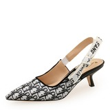 Women's PU Kitten Heel Sandals Closed Toe With Elastic Band shoes (087200141)