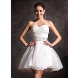 Forme Princesse Amoureux Court/Mini Organza Robe de mariée avec Plissé Brodé Paillettes (002011383)
