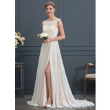 Corte A/Princesa Escote redondo Barrer/Cepillo tren Gasa Vestido de novia con Apertura frontal (002171929)