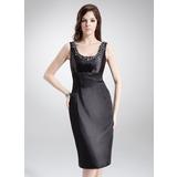 Etui-Linie U-Ausschnitt Knielang Charmeuse Kleid für die Brautmutter mit Perlen verziert (008003204)