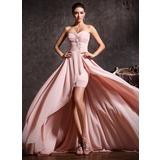 A-Line/Princess Sweetheart Asymmetrical Chiffon Prom Dresses With Ruffle Beading (018020814)