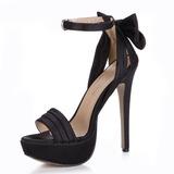 Soie comme du satin Talon stiletto Sandales Plateforme À bout ouvert avec Un nœud Boucle chaussures (087025072)