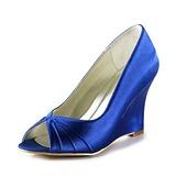 Frauen Satiniert Keil Absatz Peep Toe Sandalen (047020192)