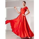 A-Line/Princess Off-the-Shoulder Floor-Length Charmeuse Holiday Dress With Ruffle Beading (020025938)