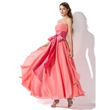 Empire Strapless Ankle-Length Chiffon Prom Dress With Ruffle Sash Bow(s) Cascading Ruffles (018004816)