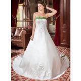 A-Line/Princess Strapless Royal Train Satin Wedding Dress With Embroidered Sash Beading (002000040)