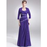 A-Linie/Princess-Linie Herzausschnitt Bodenlang Chiffon Kleid für die Brautmutter mit Rüschen Perlen verziert Pailletten (008006030)