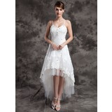 A-Line/Princess V-neck Asymmetrical Organza Tulle Wedding Dress With Lace Beading (002024067)