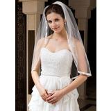 Einschichtig Ellenbogen Braut Schleier mit Band Rand (006034329)