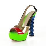 Lackskinn Tjockt Häl Sandaler Plattform Slingbacks med Split gemensamma skor (087026668)