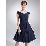 A-Linie/Princess-Linie Off-the-Schulter Knielang Chiffon Kleid für die Brautmutter mit Gestufte Rüschen (008006013)