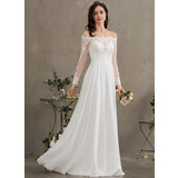 A-Linie Off-the-Schulter Bodenlang Chiffon Brautkleid (002186363)