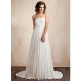 Väldet Axelbandslös Court släp Chiffong Spetsar Bröllopsklänning med Spetsar Pärlbrodering Plisserad (002011587)