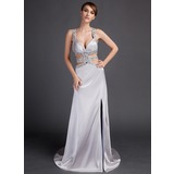 Sheath/Column Watteau Train Charmeuse Prom Dresses With Beading Split Front (018015889)