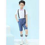 Boys 4 Pieces Stripe Ring Bearer Suits /Page Boy Suits With Shirt Bow Tie Suspender Shorts (287203048)