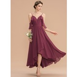 A-Line V-neck Asymmetrical Chiffon Bridesmaid Dress With Cascading Ruffles (007165867)
