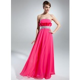 Empire Strapless Floor-Length Chiffon Charmeuse Prom Dress With Beading Cascading Ruffles (018015517)