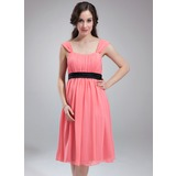 Empire Scoop Neck Knee-Length Chiffon Maternity Bridesmaid Dress With Ruffle Sash (045004382)