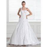 A-linjeformat One-Shoulder Court släp Satäng Organzapåse Bröllopsklänning med Spetsar (002005321)