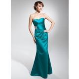 Trompete/Meerjungfrau-Linie Herzausschnitt Bodenlang Charmeuse Abendkleid mit Rüschen Perlen verziert (017014678)