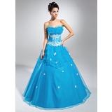 Duchesse-Linie Wellenkante Bodenlang Organza Quinceañera Kleid (Kleid für die Geburtstagsfeier) mit Perlstickerei Applikationen Spitze Pailletten Gestufte Rüschen (021015118)