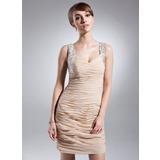 Etui-Linie Herzausschnitt Kurz/Mini Chiffon Kleid für die Brautmutter mit Rüschen Perlen verziert Pailletten (008015654)