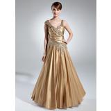 A-Linie/Princess-Linie V-Ausschnitt Bodenlang Charmeuse Kleid für die Brautmutter mit Rüschen Perlen verziert (008016031)