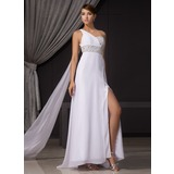 Sheath/Column One-Shoulder Watteau Train Chiffon Evening Dress With Ruffle Beading Sequins Split Front (017014466)