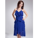 Empire Halter Asymmetrical Chiffon Bridesmaid Dress With Bow(s) Cascading Ruffles (022010400)