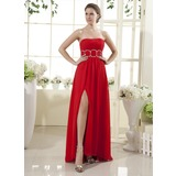 Empire Strapless Floor-Length Chiffon Holiday Dress With Ruffle Beading Split Front (008015437)