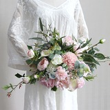 Blooming Free-Form Cloth Bridal Bouquets - (123205621)