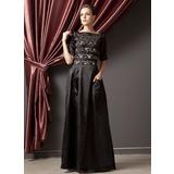 A-Linie/Princess-Linie U-Ausschnitt Bodenlang Charmeuse Kleid für die Brautmutter mit Rüschen (008014245)