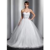 Duchesse-Linie Herzausschnitt Kapelle-schleppe Tüll Brautkleid mit Rüschen Perlen verziert Pailletten (002014800)