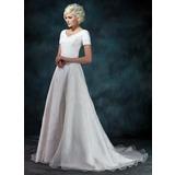 A-linjeformat V-ringning Court släp Satäng Organzapåse Bröllopsklänning med Pärlbrodering Applikationer Spetsar (002000393)