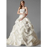 Ball-Gown Sweetheart Chapel Train Satin Wedding Dress With Ruffle Lace (002000451)