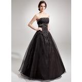 Duchesse-Linie Trägerlos Bodenlang Organza Quinceañera Kleid (Kleid für die Geburtstagsfeier) mit Rüschen Perlen verziert (008005680)