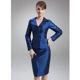 Etui-Linie V-Ausschnitt Knielang Taft Kleid für die Brautmutter (008006486)