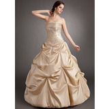 Ball-Gown Strapless Floor-Length Taffeta Quinceanera Dress With Ruffle Beading Appliques Lace (021003125)