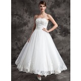 Ball-Gown Strapless Ankle-Length Satin Organza Wedding Dress With Lace Beading (002015003)
