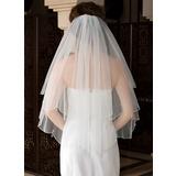 Zweischichtig Ellenbogen Braut Schleier mit Perlenbesetzter Saum (006036615)
