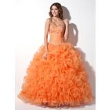 Duchesse-Linie Schatz Bodenlang Organza Quinceañera Kleid (Kleid für die Geburtstagsfeier) mit Perlstickerei Applikationen Spitze Pailletten Gestufte Rüschen (021004706)