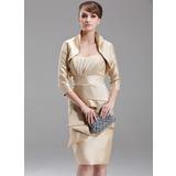 Etui-Linie Herzausschnitt Knielang Taft Kleid für die Brautmutter mit Gestufte Rüschen (008006232)