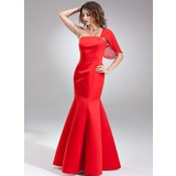 Trumpet/Mermaid One-Shoulder Floor-Length Chiffon Satin Bridesmaid Dress (007001890)