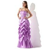 Forme Princesse Sans bretelle Longueur ras du sol Satiné Robe de demoiselle d'honneur avec Plissé Emperler (007001818)