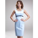 Empire Square Neckline Knee-Length Satin Bridesmaid Dress With Sash Bow(s) (007020654)