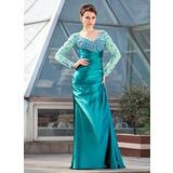 Etui-Linie Off-the-Schulter Sweep/Pinsel zug Charmeuse Kleid für die Brautmutter mit Rüschen Perlen verziert Pailletten (008018682)