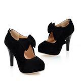 Femmes Suède Talon stiletto Escarpins Plateforme Bout fermé Bottines avec Un nœud Zip chaussures (088022874)