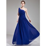 A-Line/Princess One-Shoulder Floor-Length Chiffon Evening Dress With Ruffle Beading (017004376)
