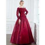 A-Linie/Princess-Linie Off-the-Schulter Bodenlang Organza Kleid für die Brautmutter mit Lace Perlstickerei (008002222)