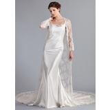 Trumpet/Mermaid Cowl Neck Cathedral Train Charmeuse Lace Wedding Dress (016026257)
